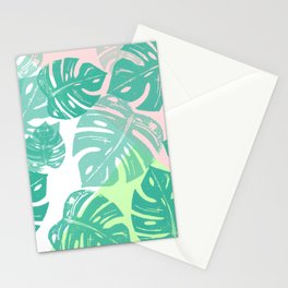 Linocut Monstera Tricolori Stationery Cards