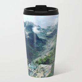 Mountain through the clouds Metal Travel Mug