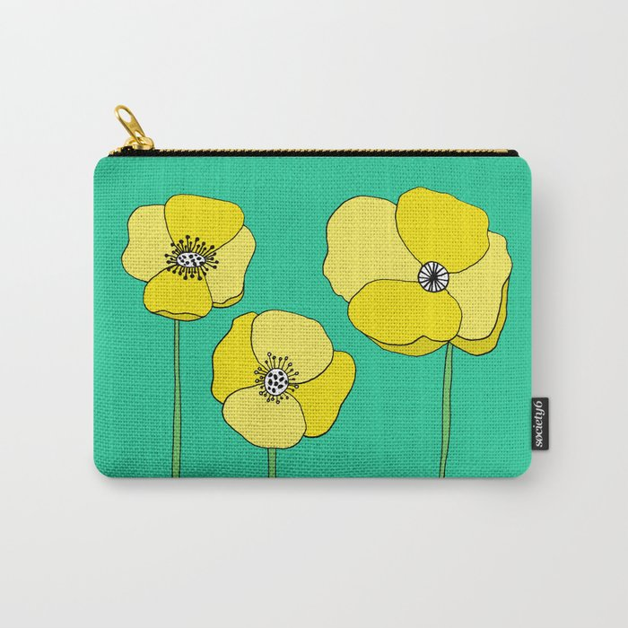 Bright Yellow and Mint Green Poppies Growing and Thriving Carry-All Pouch