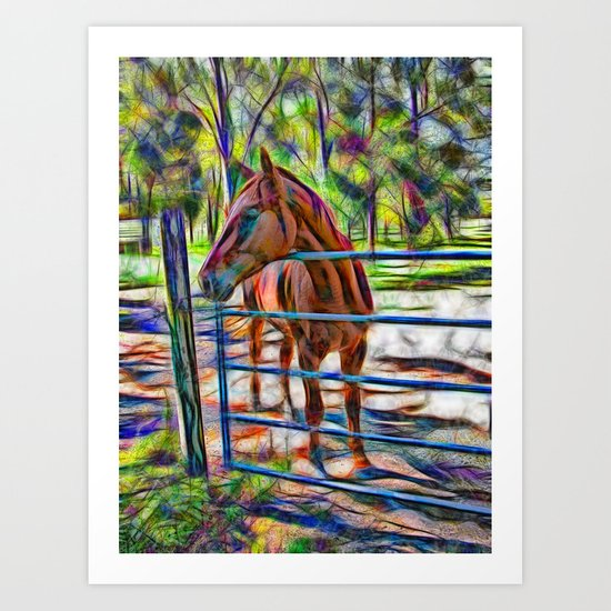 Abstract horse standing at gate Art Print
