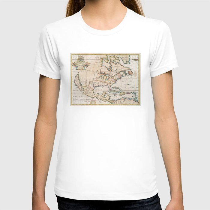Vintage Map of North America (1719) T-shirt