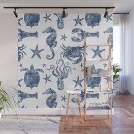 Delft Blue nautical Marine Life pattern, coastal beach Wall Mural