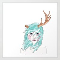 antler Art Prints featuring Antler by okayleigh