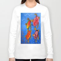 swimming Long Sleeve T-shirts featuring Swimming by Montes Arte Mexicano