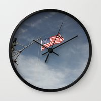 flag Wall Clocks featuring Flag by Nick De Clercq