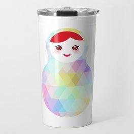 Russian doll matryoshka with bright rhombus on white background, rainbow pastel colors Travel Mug