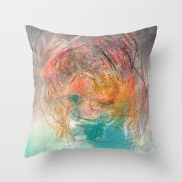 Naive - Abstract painting mixed media - luminous Throw Pillow