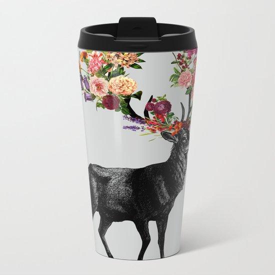 Spring Itself Deer Floral Metal Travel Mug