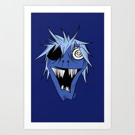Monster Mash in Deep Blue Art Print