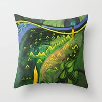 hamlet Throw Pillows featuring Hamlet by SPACE AGE ART