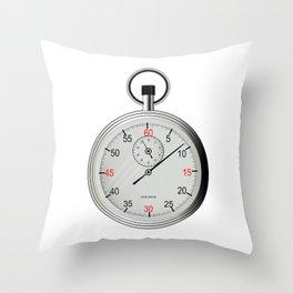 Silver Stop Watch Throw Pillow