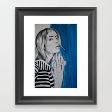 Now she's caught between what to say and what she really means Framed Art Print