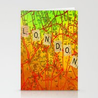 london map Stationery Cards featuring London Map by Ganech joe