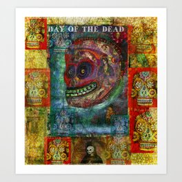 Red Sugar Skull - DAY OF THE DEAD  Art Print