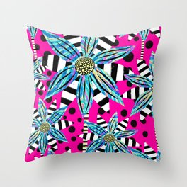 Pinwheel Flowers on Hot Pink Throw Pillow