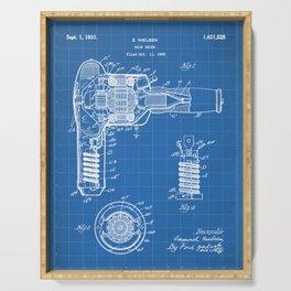 Hair Drier Patent - Salon Art - Blueprint Serving Tray