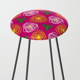 Bright pink floral Counter Stool