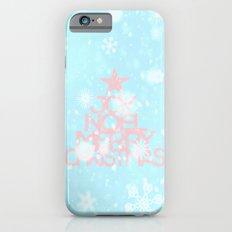 Joy,Noel,Merry Christmas and Star pattern - pink on aqua iPhone 6s Slim Case