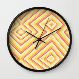 Bright Sunshine - Red, Orange and Yellow Lines - Illusion Art - 57 M Ave Wall Clock