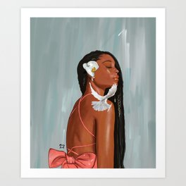 Girl in a bow Art Print