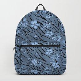 Blue flowers on blue tiger background. Backpack