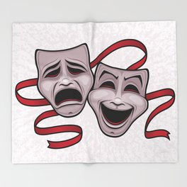 Comedy And Tragedy Theater Masks Throw Blanket