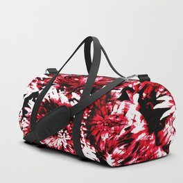 Red Black Abstract Flower Pattern  #Dahlias #Flowers Duffle Bag