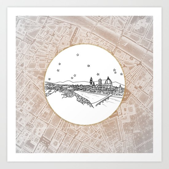 Florence (Firenze), Italy, Europe City Skyline Illustration Drawing Art Print