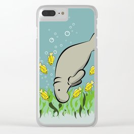 Manatee and fish Clear iPhone Case