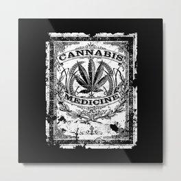 Cannabis Medicine - Old Retro Label-Medical marijuana-Pop Culture Metal Print