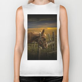 Saddle Horse on the Prairie Biker Tank