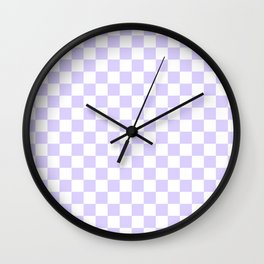 White and Pale Lavender Violet Checkerboard Wall Clock