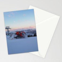 Morning animal of ski resort: Snowcat at work Stationery Cards