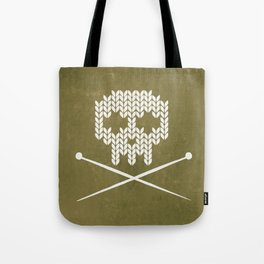 Knitted Skull / Knitting with Attitude (white on olive yellow) Tote Bag