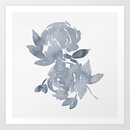 Blue Peonies watercolor Art Print