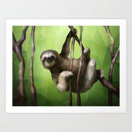 Sloth (Low Poly Lime) Art Print
