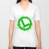 luigi V-neck T-shirts featuring Luigi Splat by Donkey Inferno