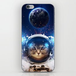 Beautiful cat in outer space iPhone Skin