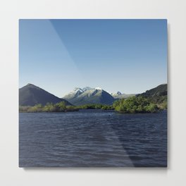 Deep blue mountainous sunset Metal Print