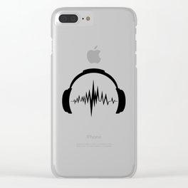 Headphones sound wave beats Clear iPhone Case
