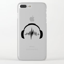 Headphones sound wave beats Clear iPhone Case