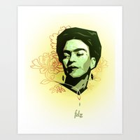 frida khalo Art Prints featuring Frida Khalo by Henri Fdz