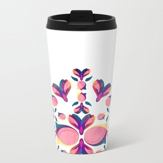 Tulip Pattern Metal Travel Mug