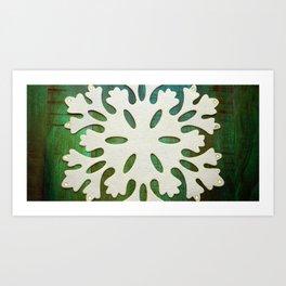 Snowflake on Wood Art Print