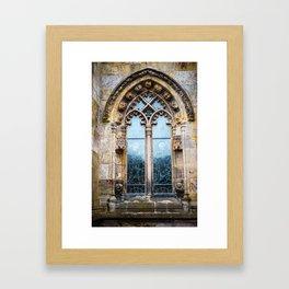 Stained glass window of Rosslyn Chapel outside Edinburgh, Scotland Framed Art Print