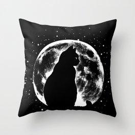 Cat Moon Silhouette Throw Pillow