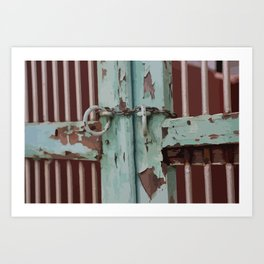 Closed Door Illustration with Chain Art Print