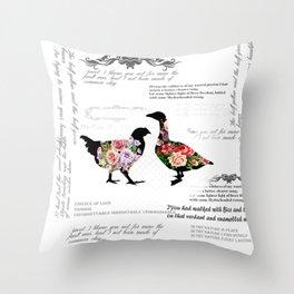 FLORL BIRDS Throw Pillow