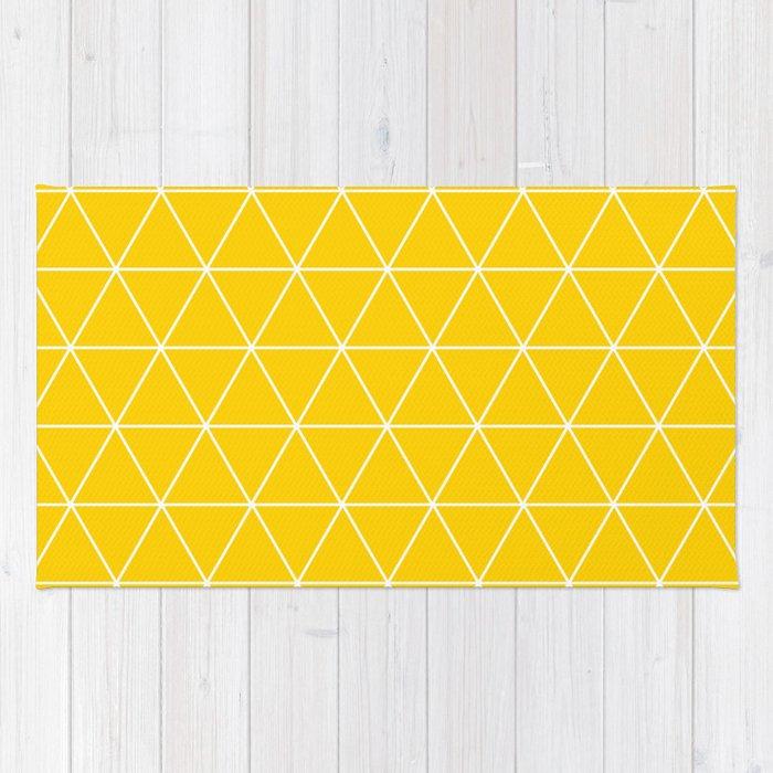 Triangle yellow-white geometric pattern Rug