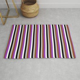 Eyecatching Grey, Brown, Dark Orchid, White & Black Colored Striped Pattern Rug